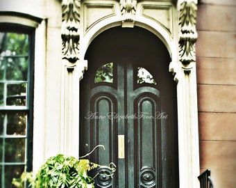 New York Print- Fashion Photography-Holly Golightly-Brownstone-Audrey Hepburn-Preppy -Dorm Decor-Hunter Green-Door-Apartment-New York Theme
