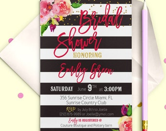 Digital Bridal Shower Invitation Chalkboard blush pink Bridal Brunch Printable Bridal Shower Invite Instant Download Floral Invitation idb30