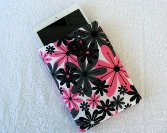 """IPad Mini Case, Kindle Fire Case, IPad Mini Cover, Kindle Fire Cover, , Kindle Fire 7 Case, Pink and Black Daisy Print, 8 1/2"""" x 6"""""""