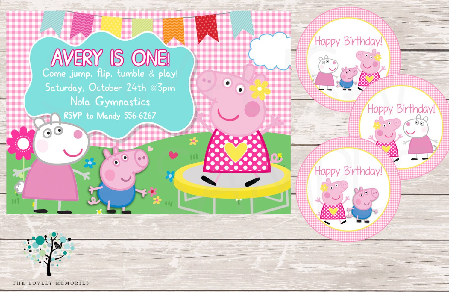 Peppa Pig Invitation Peppa Pig Gymnastic First Birthday Party
