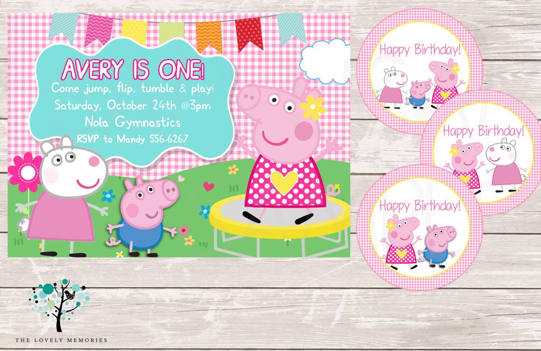 Peppa Pig Invitation Peppa Pig Gymnastic First Birthday Party