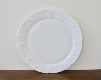 Vintage White Grape Pattern Milk Glass Large Round Serving Tray Platter