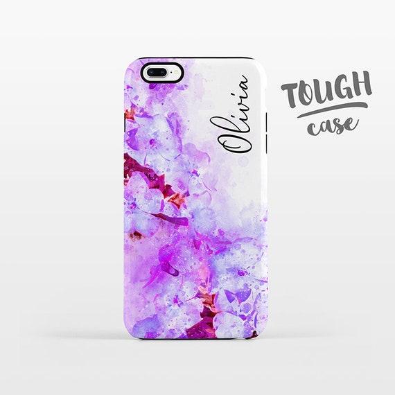 Watercolor Floral NAME Custom Phone Case Personalized iPhone X Case iPhone 8 Case iPhone 7 Plus Case iPhone 6 Plus iPhone 6S Purple Flowers
