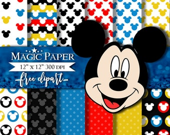 Mickey Mouse Digital Paper Clipart Clip Art