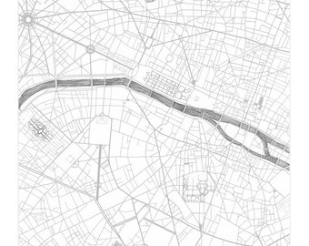 PARIS Map Street Map FRANCE City Map Drawing Black and White (Art Print) Wedding Anniversary Gift French Travel Parisian Wall Decor
