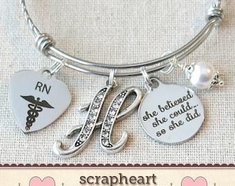 RN GRADUATION Gift Bangle, She Believed She Could So She Did Registered Nurse Graduation Gift, RN Gifts, Custom Medical Graduate Bracelet