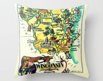 Wisconsin Pillow Cover 18x18, Wisconsin Home Gift, vintage Illustrated Map, Madison WI