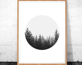 Scandinavian Print Art, Forest Print, Digital Wall Art Print, Minimal Print, Forest Circle Art, Tree Print Download, Black White Wall Art