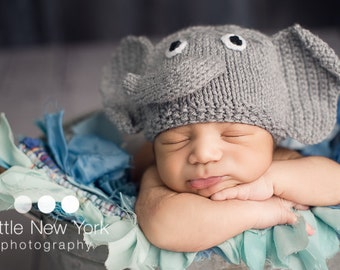 Newborn photo prop, elephant newborn/ baby hat, Newborn boy, Newborn girl, Newborn hat, Newborn knit hat, baby hat, newborn boy prop, baby