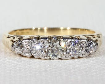 Antique Five Stone Diamond Ring Stacking Band Size 6 1/4