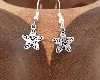 """Star Clip earrings posts silver stars, """"just for you"""" silver"""