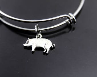 Pet Lover Gift Pet Gift Pig Charm Bracelet 4H Gift Pig Farmer Gift Pet Pig Lover Gift 4 H Gift Pig Bangle Pig Charm Bracelet Pig Bracelet