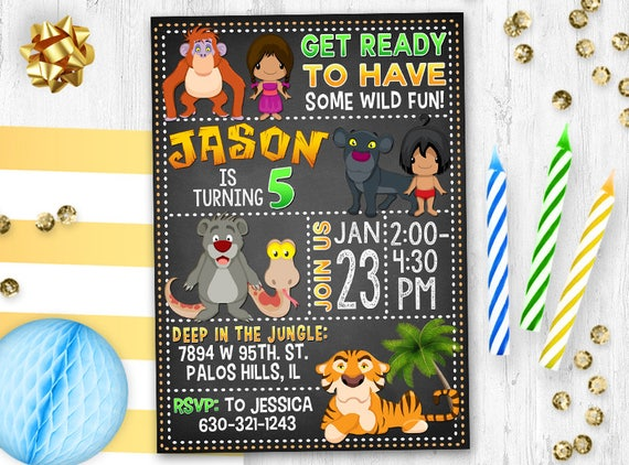 Mowgli invitation birthday card invite jungle birthday filmwisefo
