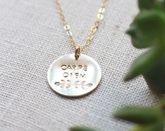 Hand stamped carpe diem necklace , leaf design, seize the day, motivation, delicate jewelry, disc  necklace, dainty necklace , gold filled