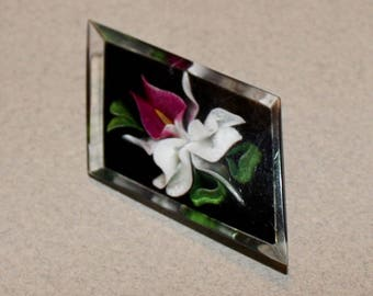 Lovely Reverse Carved, Orchid, Lucite Brooch