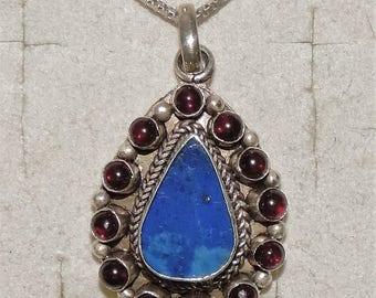 "VintageEstate Sterling SilverLapis Lazuli Garnet Pendant Necklace 9.20 Grams 24"""