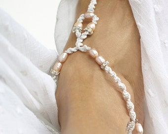 Bridal Barefoot Sandals, Pink Pearls, Rhinestone Beach Wedding Sandals, 1 Pair