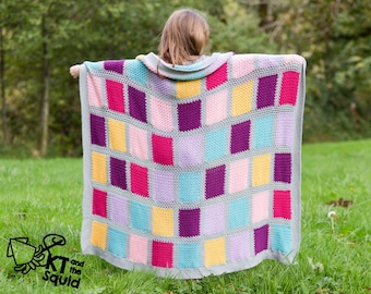 Crochet afghan pattern, seamless squares, crochet throw patten, easy baby blanket pattern, crochet block pattern ok to sell