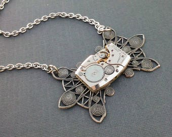 Steampunk Necklace Womens Necklace Steampunk Jewelry Bridal Necklace Wedding Womens Short Necklace Watch Necklace