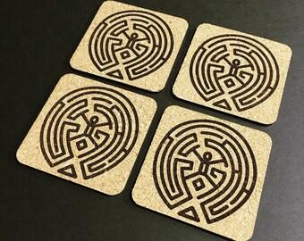 Westworld Maze Cork Coaster Set