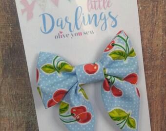 SALE! 30% OFF**Sailor Hair bow, Toddler hair bow, Baby hair bow, Teen hair bow, Girl Hair bow- Blue Cherries