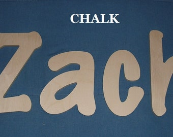 """Wooden Wall Letters - 10"""" Size - Unpainted - Chalk plus Various other Fonts - Gifts and Decor for Nursery - Home - Playrooms - Dorms"""