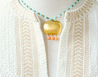 Aqua Bead Necklace with Brass and Coral Pendant