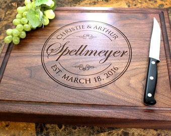 Personalized Chopping Block, 12x15~1&3/4 thick Walnut/Cherry/Sapele, Engraved Butcher Block  - Wedding, Anniversary, Housewarming Gift. 001