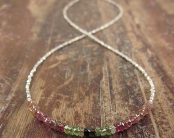 Watermelon Tourmaline Necklace Tourmaline Beaded Necklace October Birthstone Necklace Woman's Necklace Watermelon Tourmaline Jewelry Silver