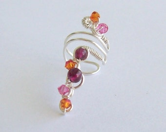 Clearance:  Silver & Gemstone Ear Cuff Wrapped in Garnets and Swarovski Crystals