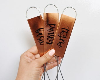 Herb Plant Stakes - Metal | Copper | Harb Markers | Garden Decor | Plant Marker | Garden Stake | Spring Decor | Mint | Basil | Oregano