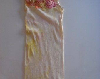 yellow & peach  tones on this hand dyed and silk embellished tee