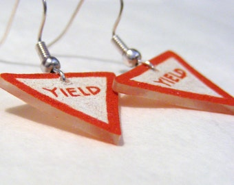 Plastic Yield sign earrings