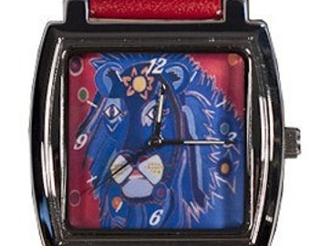 Lion Wrist Watch  - Salvador Kitti - From my Original Oil Painting, A King's Tear - Long Band