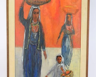 Vintage Mid-Century Arab Women Carrying Baskets Oil Painting Rubin