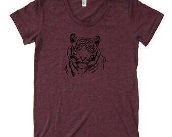 Tiger Shirt - Womens  Polyblend Tshirt - Soft Made in the USA - Womens Tee Top Small Medium Large XL - Tiger Womens T Shirt