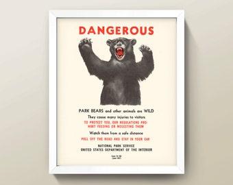 Dangerous Bear! • 8x10 Wall Art / Print • High Quality Giclée Print