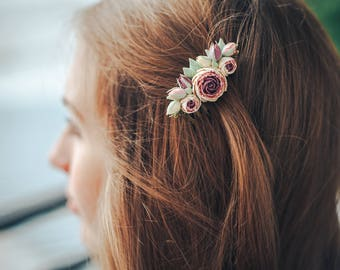 Charming hair comb, elegant hair comb with peonies, gift for her