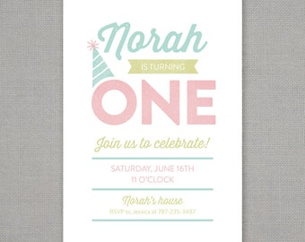 First Birthday Typographic Party Invitation