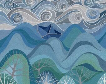 Wayfarer art print, paper boat on ocean with handpainted silver stars, nursery decor