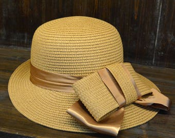 Silk bowknot travel straw hat Ms grace personality breathable basin hat shading in summer Straw Hat -sun hat
