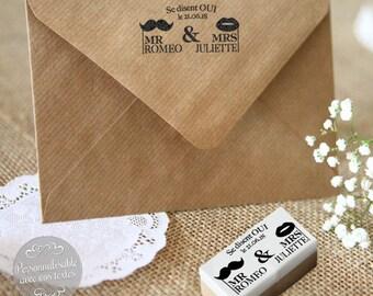 """Tampon mariage personnalisé """"Mr & Mrs"""" - pour une décoration originale de vos faire-parts / enveloppes de mariage"""