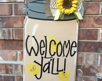 Mason Jar Door Hanger, Spring Door Hanger, Lighting Bug Door Hanger, Spring Wreath, Summer Door Hanger, Mason Jar Wreath, Summer Wreath