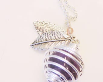 Amethyst in Spiral Cage Pendant Necklace