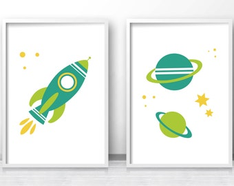 Outer Space Kids Art Prints, Space Nursery Wall Art Print, Rocket Ship Kids Prints, Boys Room Decor, Baby Boy Nursery Art, Printable Kids