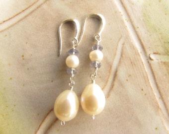 White Freshwater Pearl and Iolite Earrings, Pearls and Gemstone Earrings, Sterling Silver Earrings, Wire Wrapped Earrings