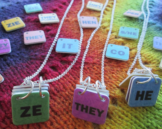 Genderfluid Pronouns Necklace - Custom - Build your own! - Silver Chain