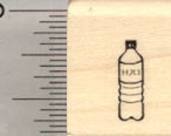 Tiny Water Bottle Rubber Stamp, .5 inch tall, Mark your Calendar, Track Your Hydration A27410 Wood Mounted