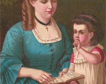 Vintage 1890 French Victorian Art print Chromolithograph/Mum & girl reading a book