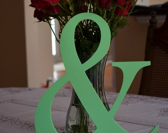 """PAINTED 12"""" Wooden Ampersand Sign  Photography-DIY-Wedding Decor-Engagement-Wooden Alphabet Letters- Photo prop '&'sign- Birthday- Decor"""